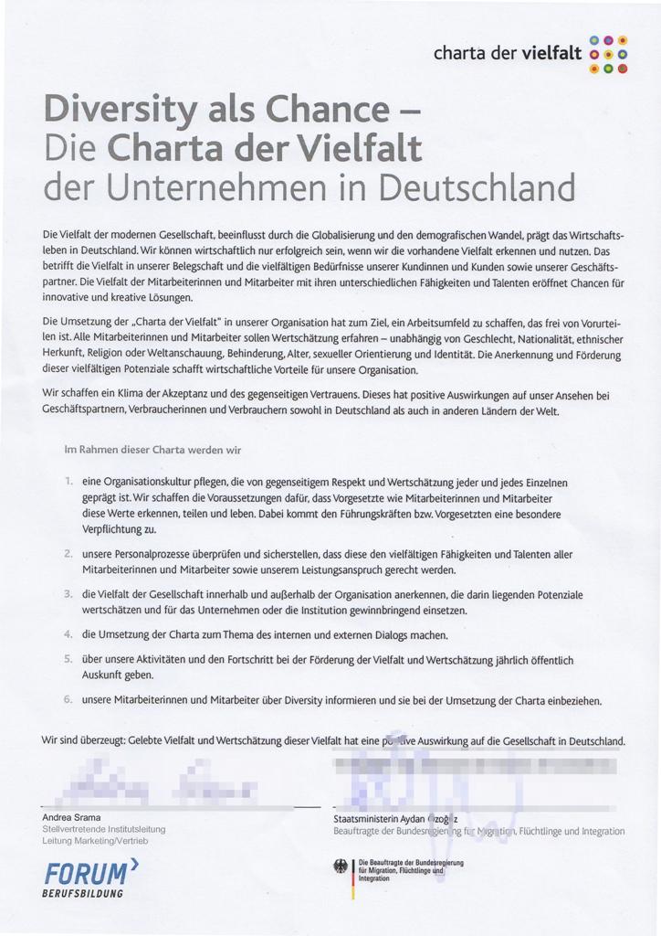 Charta der Vielfalt - Urkunde
